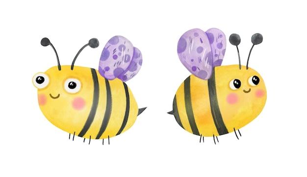 Słodkie śmieszne pszczoły latające ręcznie rysowane akwarela clipart