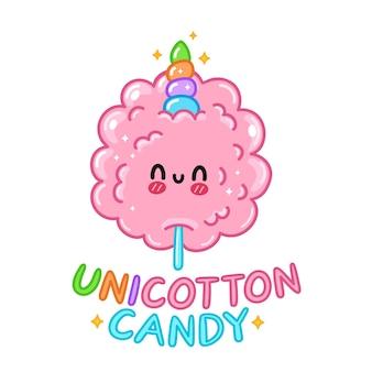 Słodkie śmieszne słodkie wata cukrowa z rogiem jednorożca. wektor ręcznie rysowane kreskówka kawaii charakter ilustracja logo ikona. na białym tle. koncepcja logo słodkiej waty cukrowej jednorożca