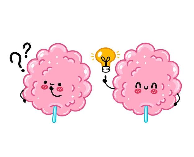 Słodkie śmieszne słodkie wata cukrowa ze znakiem zapytania i żarówką pomysłu. wektor ręcznie rysowane kreskówka kawaii charakter ilustracja ikona. na białym tle. koncepcja słodkiej waty cukrowej