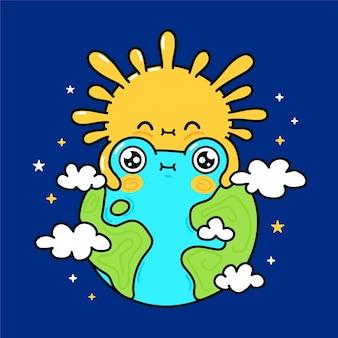 Słodkie śmieszne słońce przytula planetę ziemię w kosmosie. wektor ręcznie rysowane kreskówka kawaii charakter ilustracja ikona. koncepcja postaci maskotki słońca i ziemi