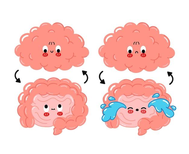 Słodkie śmieszne szczęśliwe, smutne ludzkie jelito, połączenie mózgu