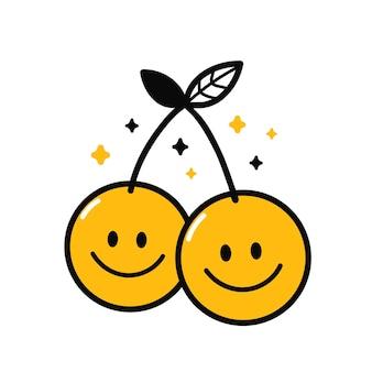Słodkie śmieszne twarze uśmiech wiśni. wektor ręcznie rysowane kreskówka kawaii charakter ilustracja ikona. na białym tle. wiśnia, nadruk z uśmiechniętą twarzą na koszulkę, koncepcja kreskówki plakatu