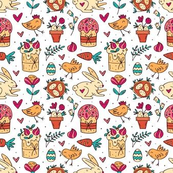 Słodkie śmieszne wielkanocne króliki, wielkanocne ciasta, babeczki, zioła, jaja i serca słodkie doodle ręcznie rysowane wzór