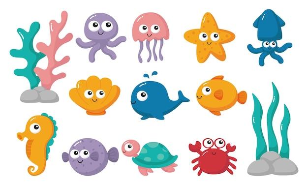 Słodkie śmieszne zwierzęta morskie i oceaniczne kreskówka na białym tle