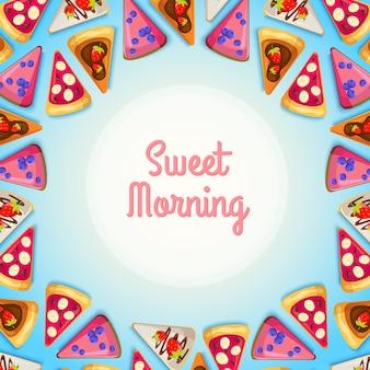 Słodkie śniadanie szablon z kawałkami smacznego ciasta i różnymi składnikami na niebieskiej ilustracji