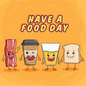 Słodkie śniadanie z zabawnym wyrazem twarzy przy użyciu kolorowego stylu doodle