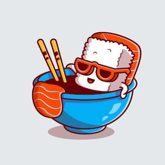Słodkie sushi z łososia w sosie shoyu ikona ilustracja kreskówka.