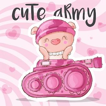 Słodkie świnia zwierząt wojskowych