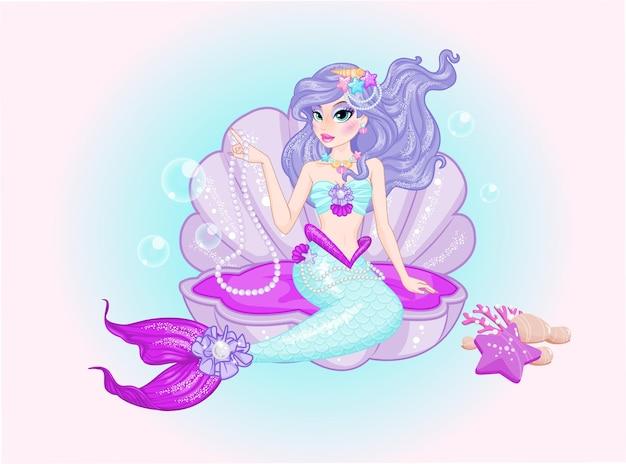 Słodkie syrenka długie fioletowe włosy w muszli
