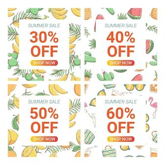 Słodkie szablony banerów promocyjnych do projektowania suumer