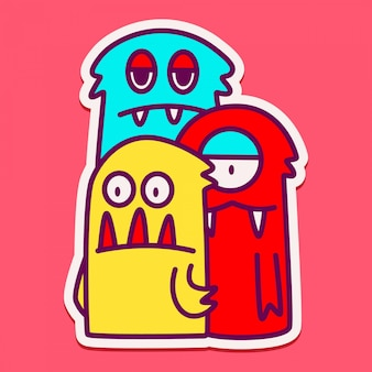 Słodkie szablony postaci potworów