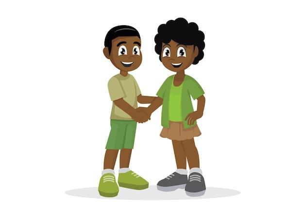 Słodkie szczęśliwe afrykańskie dziecko potrząsa ręką z przyjacielem