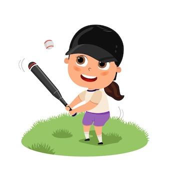 Słodkie szczęśliwe dziecko dziewczyna gra w baseball lub futbol amerykański ilustracja kreskówka płaska nastolatek stojący z kijem na korcie