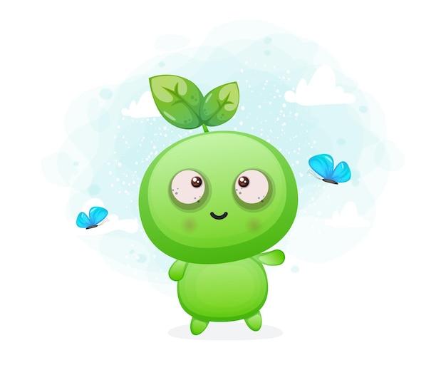 Słodkie szczęśliwe uśmiechnięte nasiona bawiące się motylem obca maskotka postaci premium wektorów