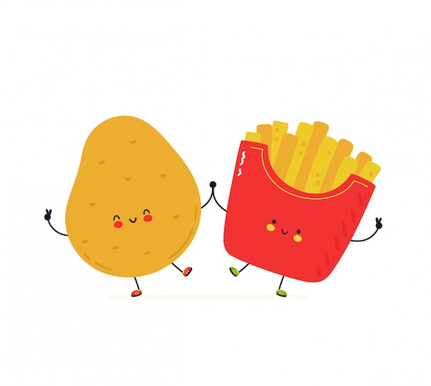 Słodkie szczęśliwe uśmiechnięte ziemniaki i frytki. pojedynczo na białym. wektorowego postać z kreskówki ilustracyjny projekt, prosty mieszkanie styl. koncepcja fast food ziemniaczane frytki