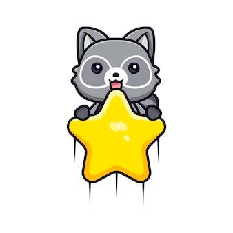 Słodkie szopy unoszące się z gwiazdą do nieba wektor zwierzęca ilustracja postaci