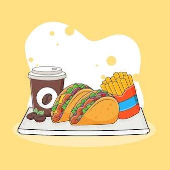 Słodkie taco, frytki i ikona ilustracja kawy. koncepcja ikona fast food. styl kreskówki