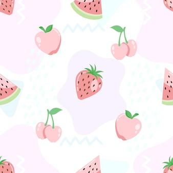 Słodkie tropikalne lato owoce bez szwu wzorów tła
