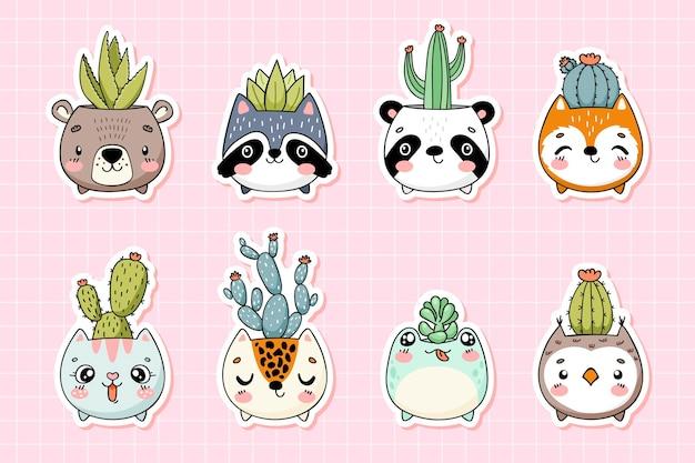 Słodkie twarze zwierząt doniczki z kaktusami kolekcja zabawnych naklejek