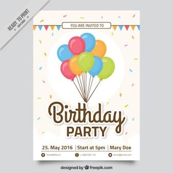 Słodkie urodziny zaproszenie z kolorowych balonów