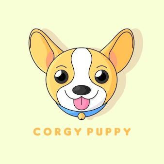 Słodkie uśmiechnięte logo szczeniaka corgi