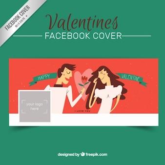 Słodkie walentynki facebook pokrywa z ręcznie rysowany kilka