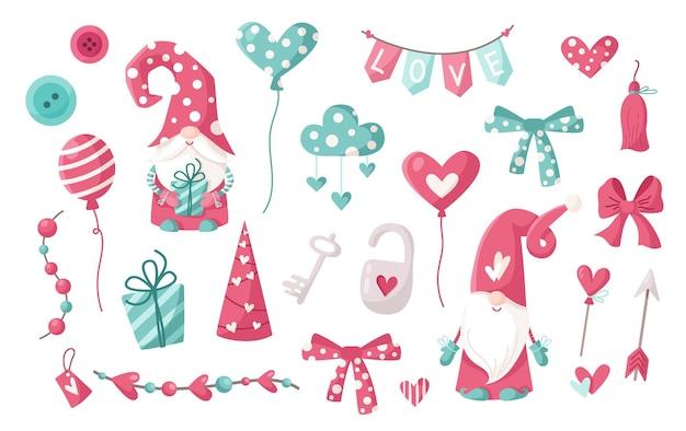 Słodkie walentynki gnomy lub krasnoludy z balonami, sercami, chmurą, łukiem i girlandą na białym tle