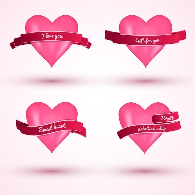Słodkie walentynki płaskie karty miłości z różowymi serduszkami i wstążkami na białym tle ilustracji wektorowych