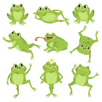 Słodkie żaby. zielone śmieszne żaby w różnych pozach, grupa szczęśliwych zwierząt. uśmiechający się aktywne ropuchy, zoo mięsożerne postacie z kreskówek wektorowych. kreskówka płaz szczęśliwa, zwierzęca ilustracja ropucha księżniczka