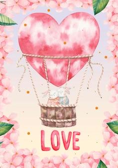 Słodkie zakochane króliczki latają w balonie w kształcie serca wśród różowych kwiatów.