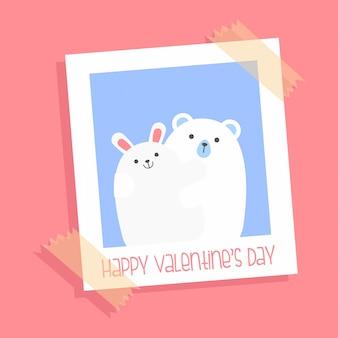 Słodkie zakochane niedźwiedzie - karta na ul. walentynki