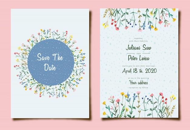 Słodkie zaproszenie na ślub z akwarela kwiatowy