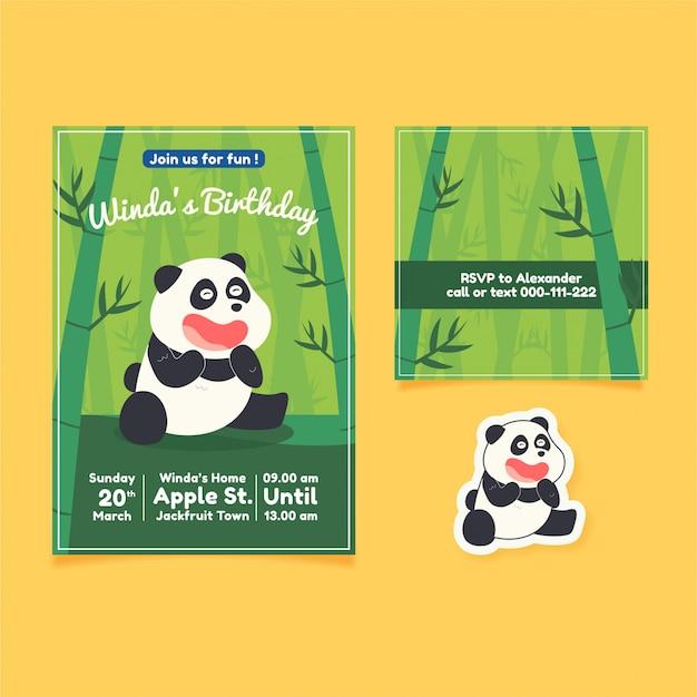 Słodkie zaproszenie na urodziny panda ręcznie rysowane