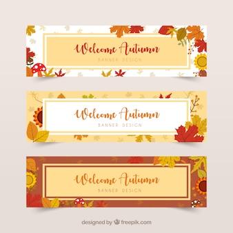 Słodkie zbiór eleganckich jesiennych banerów