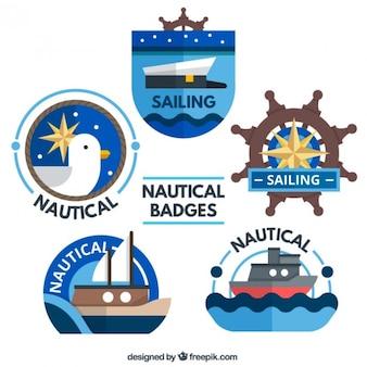 Słodkie zbiór odznak żeglarskiej w płaskiej konstrukcji
