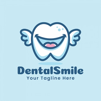 Słodkie zęby dentystyczne zęby kreskówka logo postać ilustracja latająca ze skrzydłami