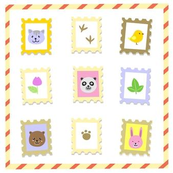 Słodkie znaczki zwierząt
