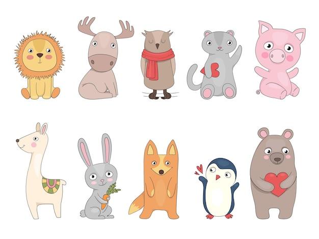 Słodkie zwierzaczki. sowa jeż tygrys panda królik wektor ręcznie rysowane kolekcja zoo dla dzieci. ilustracja kreskówka sowa i lis, niedźwiedź i królik