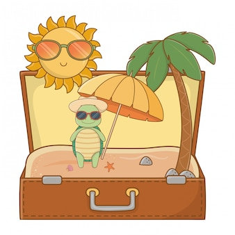 Słodkie zwierzę cieszące się wakacjami