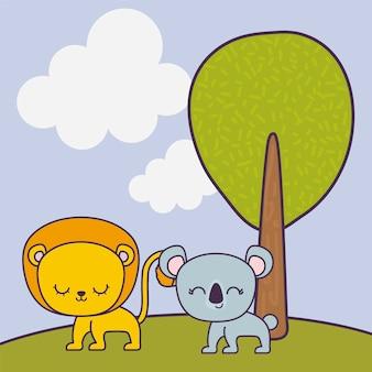 Słodkie zwierzę koala i lew w krajobrazie