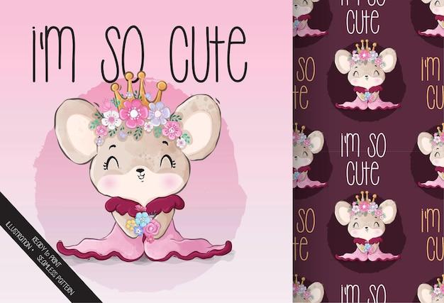 Słodkie zwierzę mała królowa myszka z bezszwowym wzorem