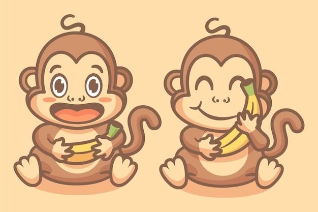 Słodkie zwierzę małpa jak ilustracja postaci maskotki banana