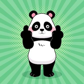 Słodkie zwierzę pokazuje symbol fuck you