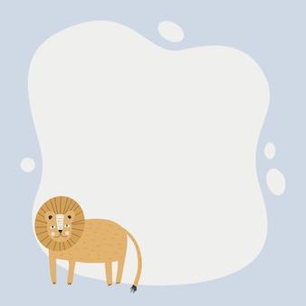 Słodkie zwierzę ramka zmaza w prostym stylu cartoon rysowane ręcznie. szablon dla tekstu lub zdjęcia.