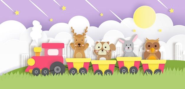 Słodkie zwierzę siedzi w pociągu w stylu cięcia papieru.