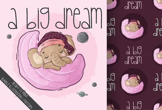Słodkie zwierzę słoniątka spać na wzór księżyca. cute cartoon zwierząt.