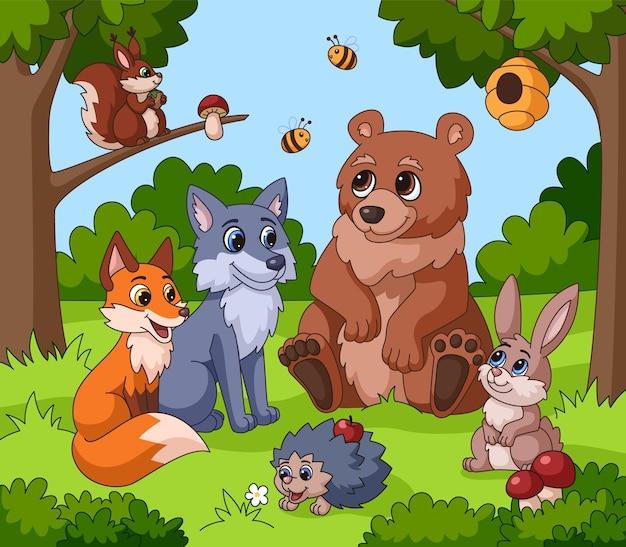 Słodkie zwierzę w lesie. zwierzęta z kreskówek, dzieci rysunek tło lasu. śmieszna wiewiórka, królik niedźwiedź lis w pobliżu drzewa jaskrawa ilustracja wektorowa dla dzieci
