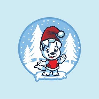 Słodkie zwierzę z santa hat w zimowym projekcie kreskówka maskotka