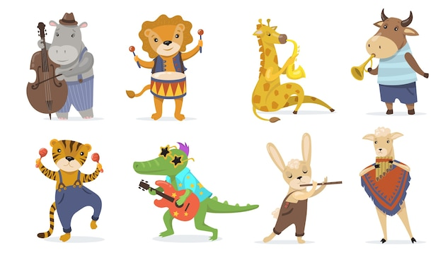 Słodkie zwierzęta grające na instrumentach muzycznych płaski zestaw ilustracji. kreskówka krokodyl z gitarą, żyrafa z saksofonem i lew z bębnem na białym tle kolekcja ilustracji wektorowych. muzyka i maskotki dla dzieci c
