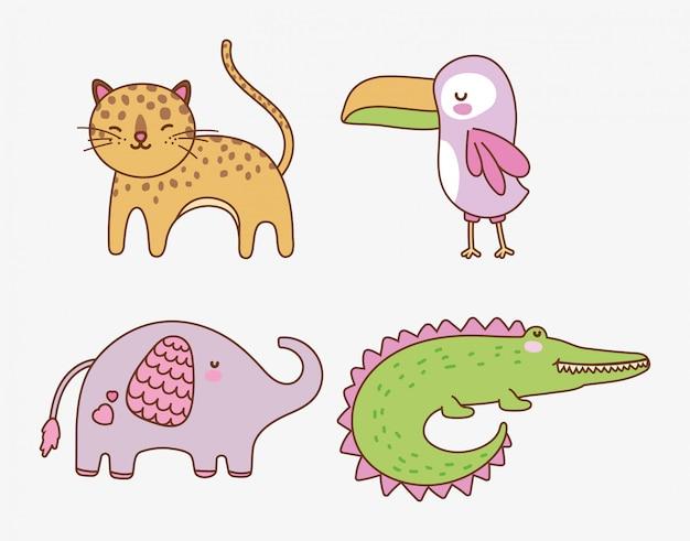 Słodkie zwierzęta kreskówek